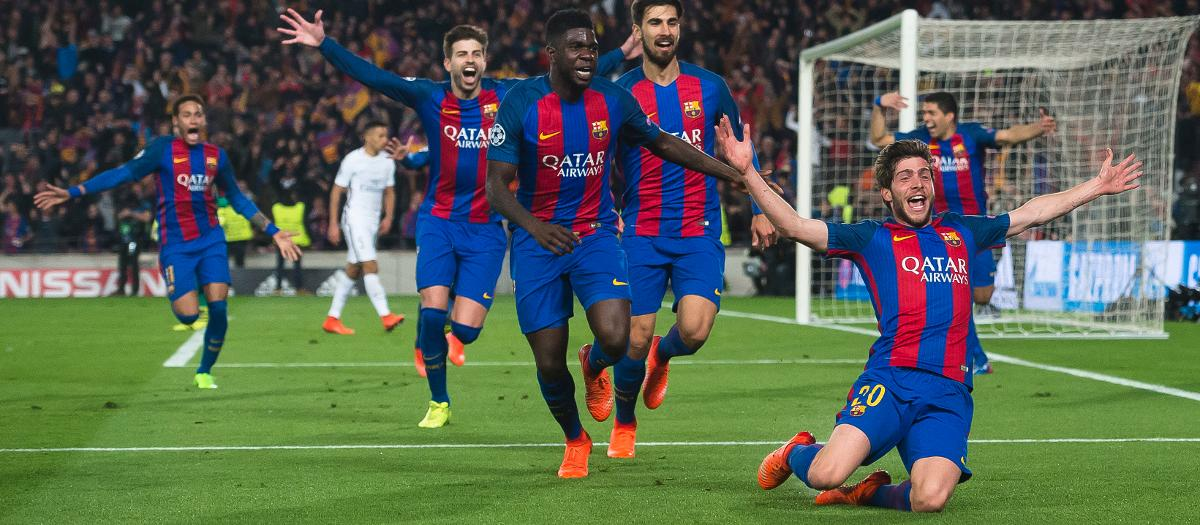 Celebrations after Sergi Roberto scores the goal that puts Barcelona through versus Paris Saint Germain in the Champions League