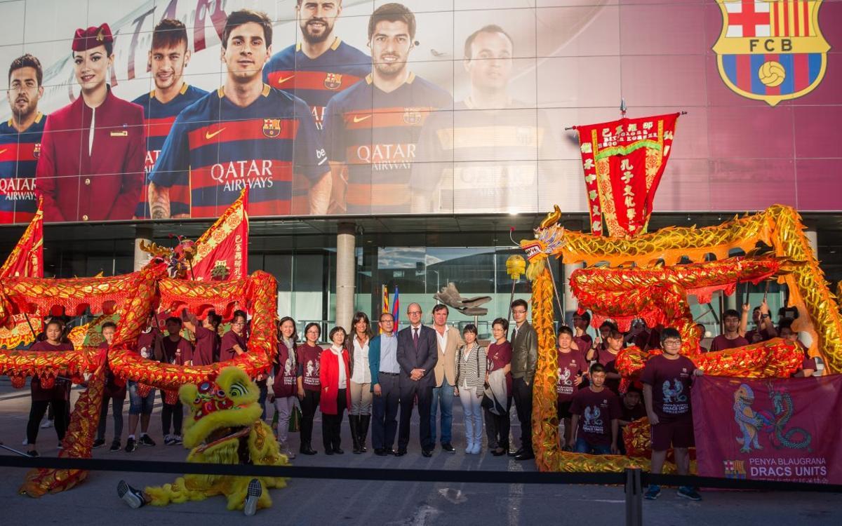 La Peña Barcelonista Dracs Units se presenta en el Camp Nou