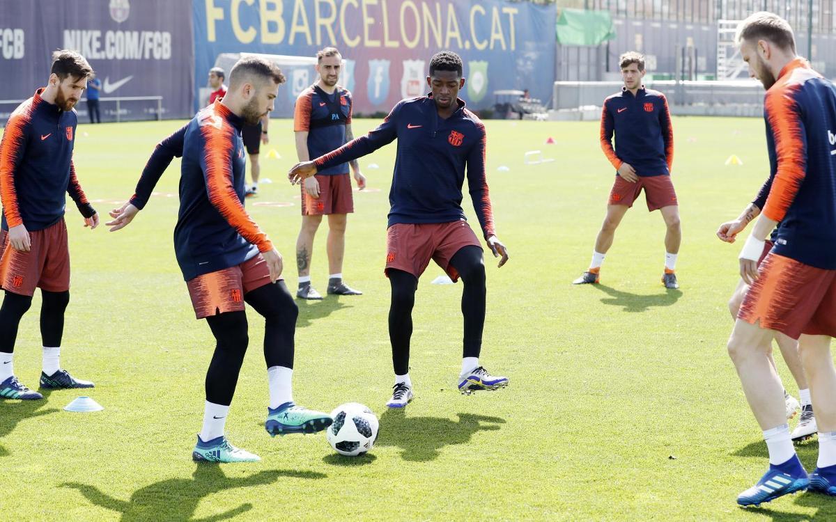 Entrenament de cara a preparar la final de Copa contra el Sevilla