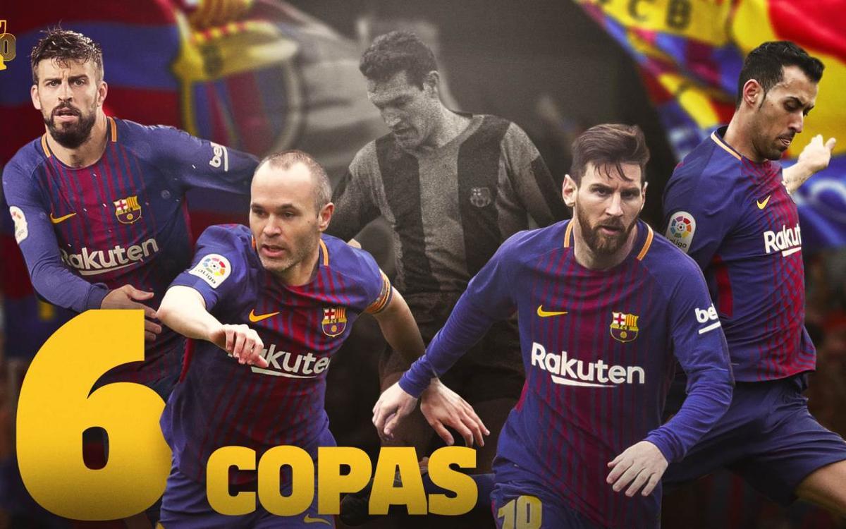 Iniesta, Messi, Sergio y Piqué igualan las seis Copas de Segarra