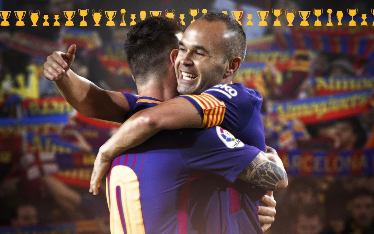 Leo Messi and Andrés Iniesta now have won 31 titles at FC Barcelona