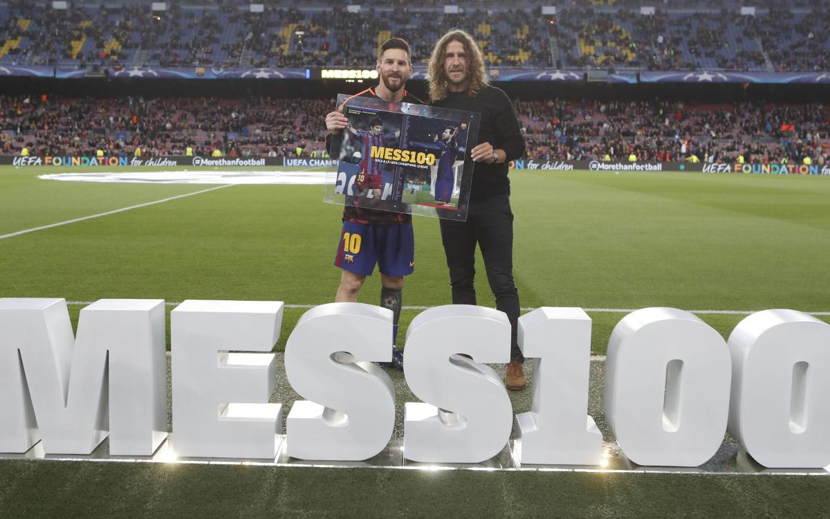 Lionel Messi, recognition from Club for 100 goals in the Champions League