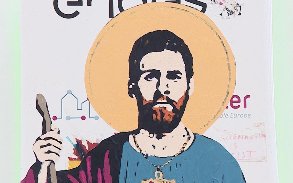 Lionel Messi, 'santificado' en las calles de Barcelona
