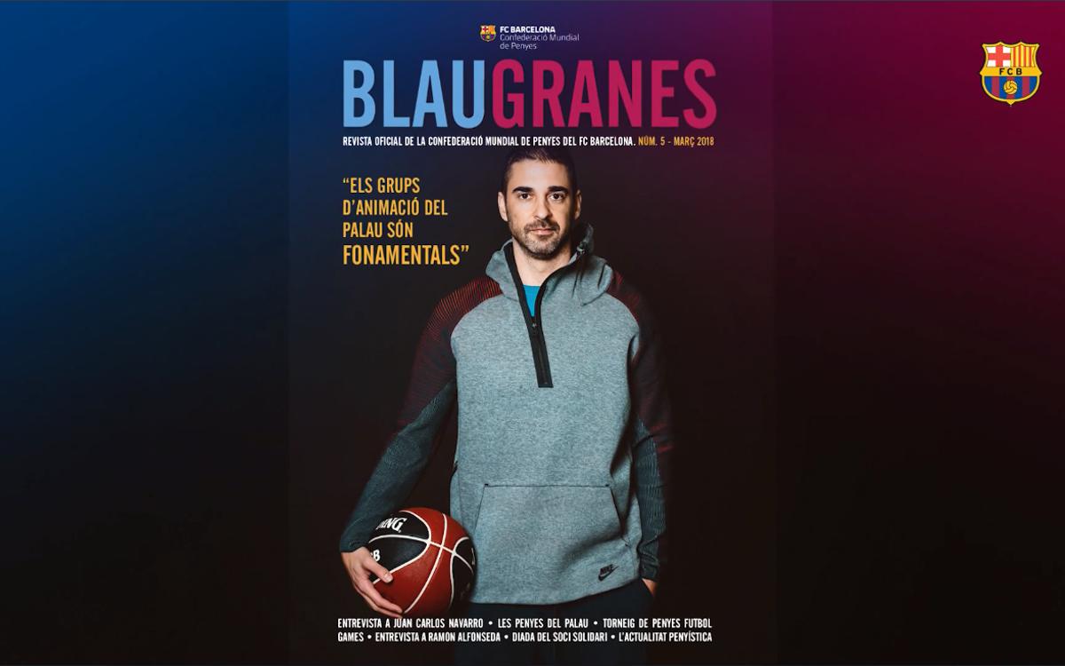 Juan Carlos Navarro, star in the front cover of Blaugranes magazine