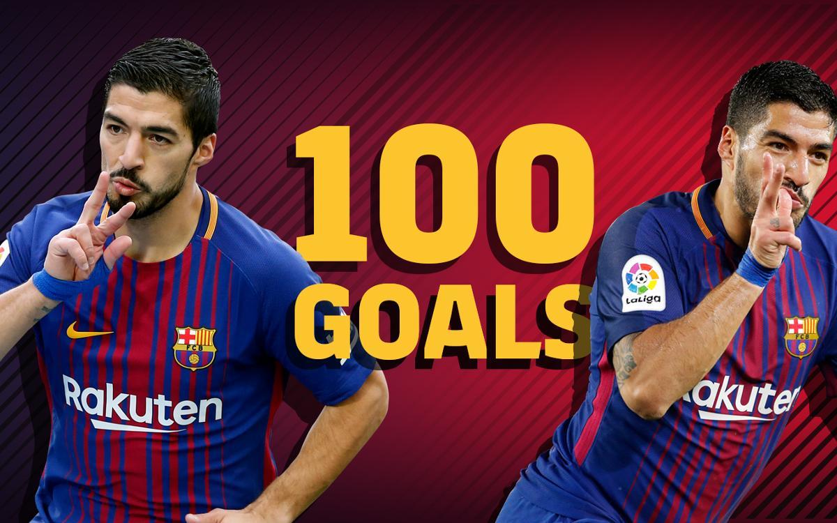 Los 100 goles de Luis Suárez en la Liga
