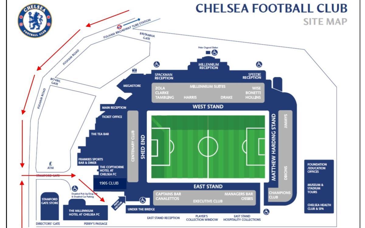 Información para los aficionados que visiten el estadio del Chelsea