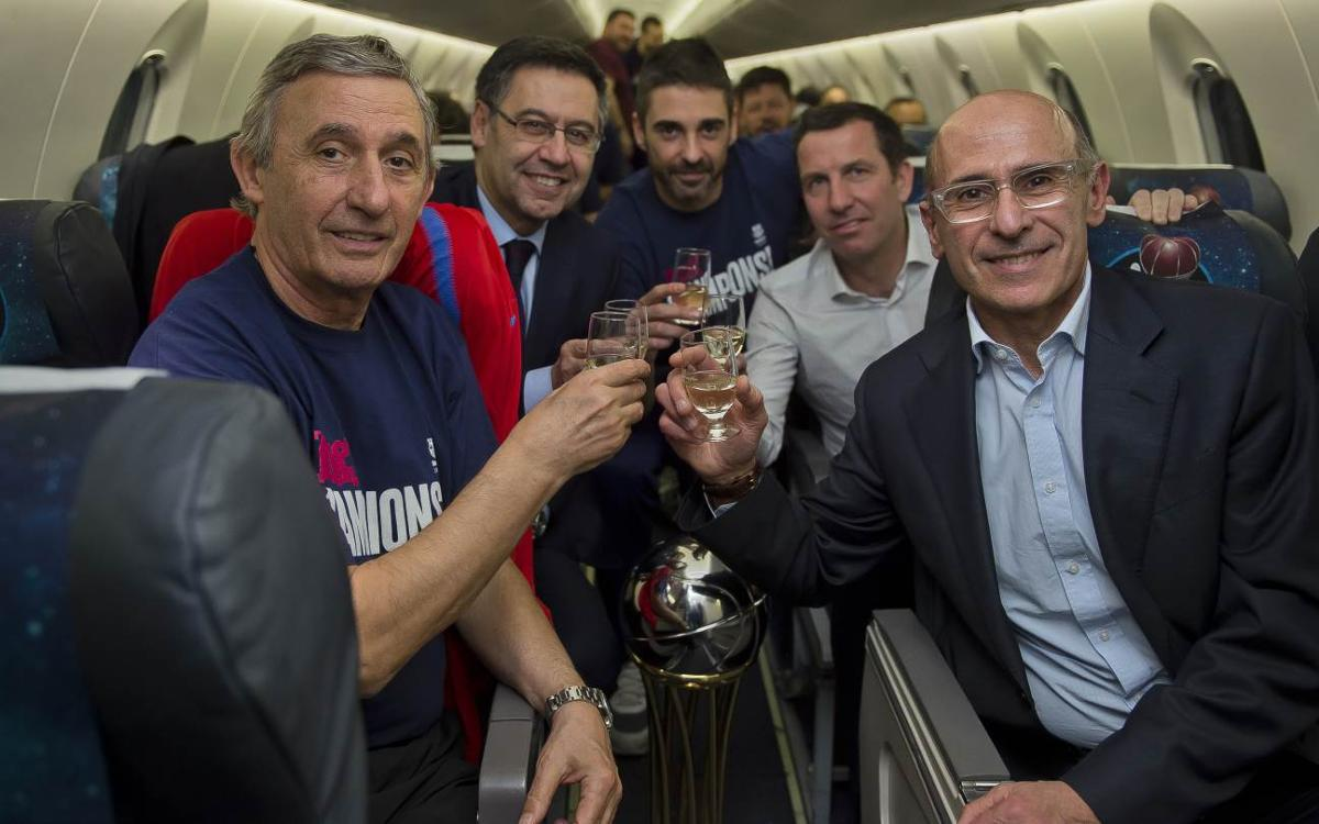 The Champions celebrate their Copa del Rey win