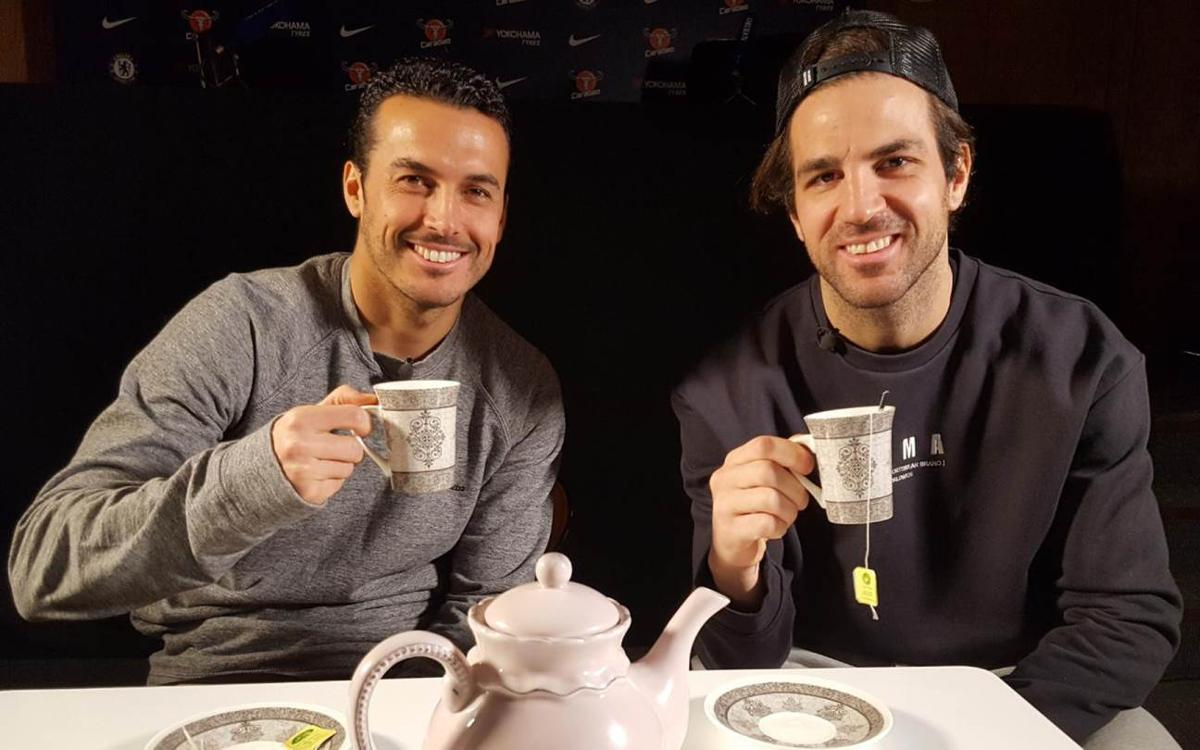 Cesc and Pedro sit down for tea and Chelsea-Barça chat