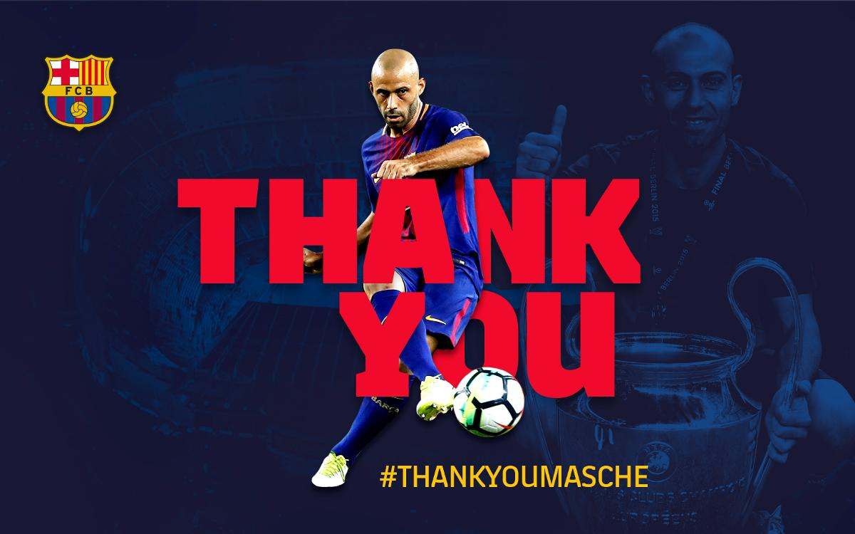 Barça to hold an institutional farewell ceremony for Javier Mascherano