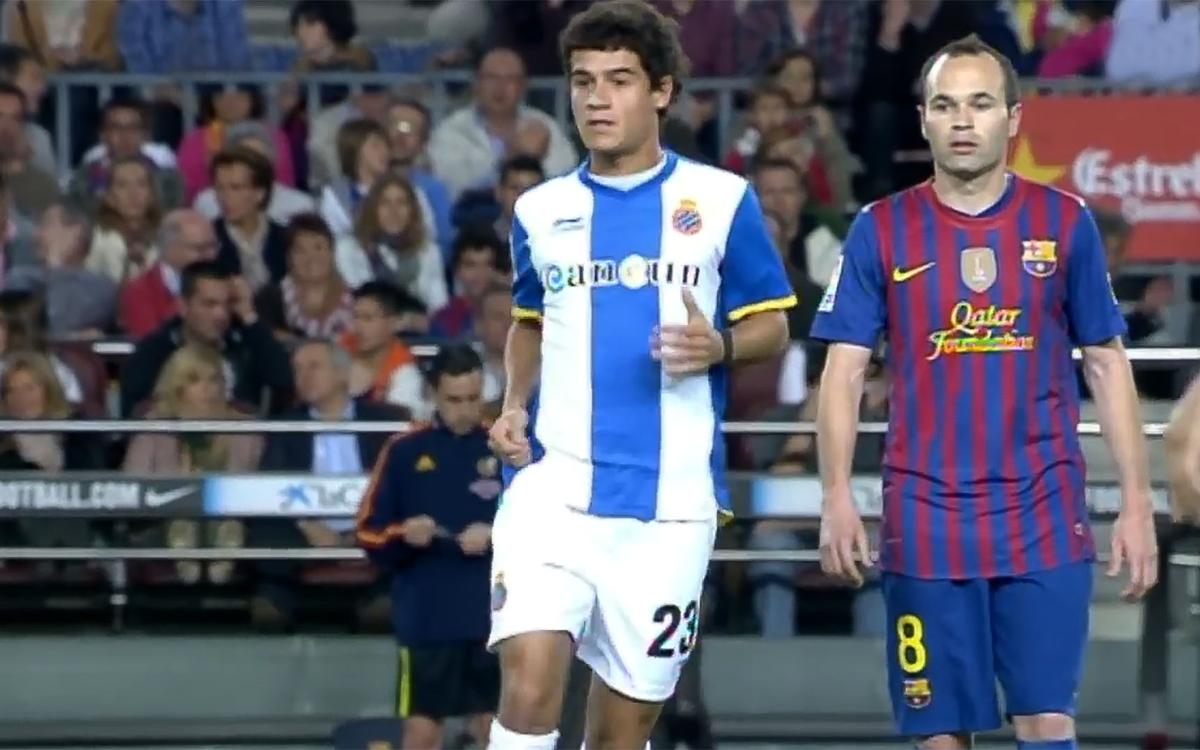 VIDEO. Coutinho's first derby at Camp Nou