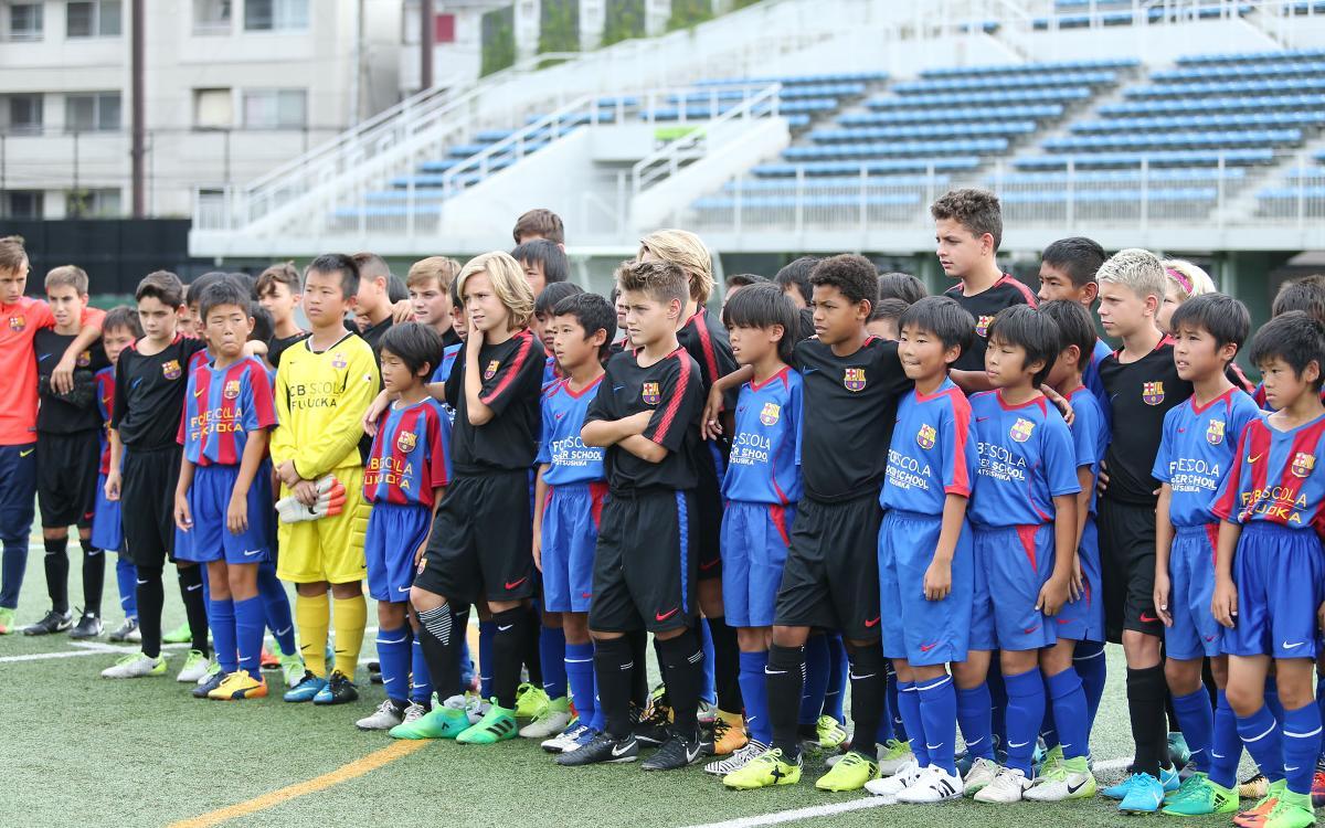 Les FCBEscoles de Katsushika i Fukuoka, amb l'Infantil B