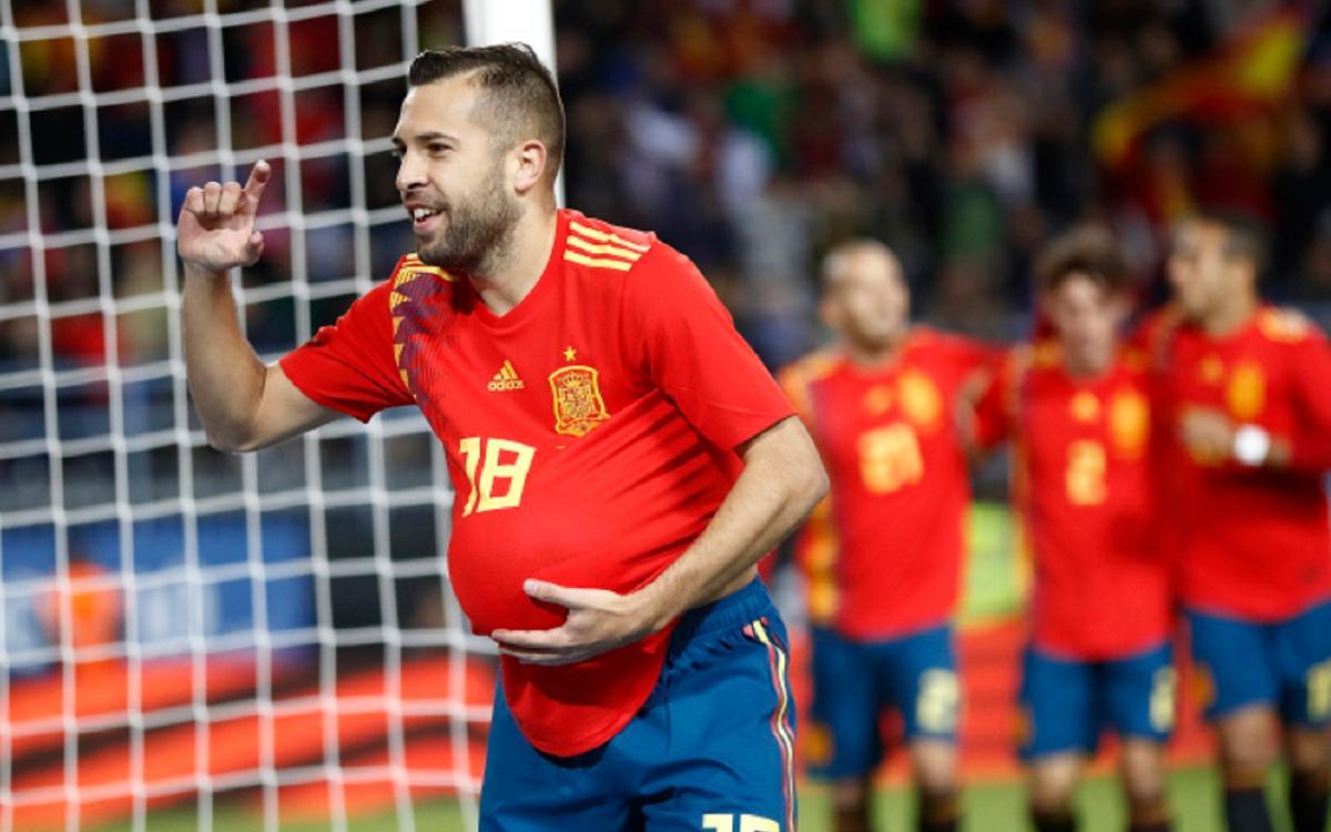 Iniesta and Jordi Alba score in Spain's win