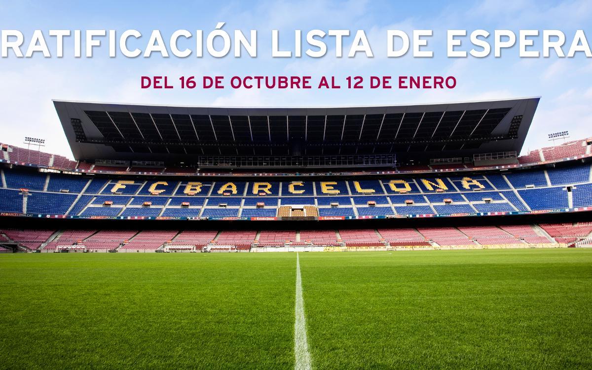 Ratificación de la lista de espera de abonos en el Estadio