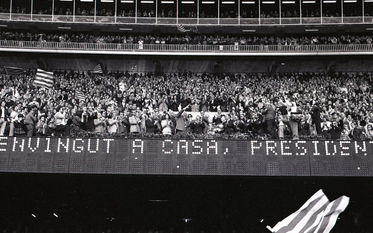 40 años del homenaje a Josep Tarradellas en el Camp Nou
