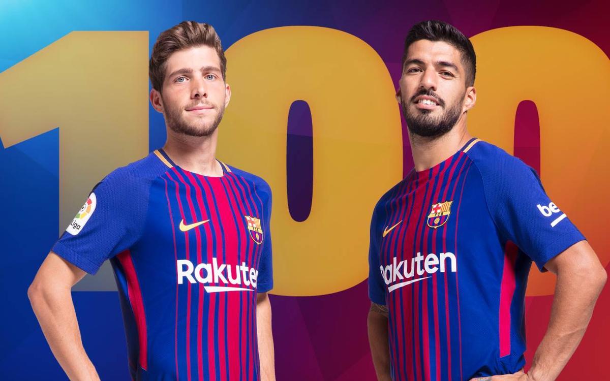 Luis Suárez and Sergi Roberto, 100 league games for FC Barcelona