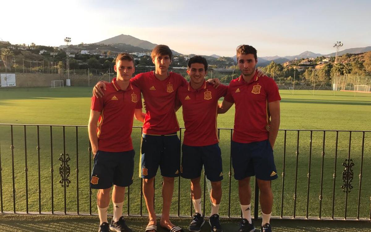 Mate, Sergio Gómez, Miranda y Abel Ruiz, en el Mundial sub17