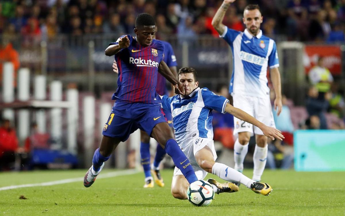 Dembélé debuta al Camp Nou amb assistència de gol