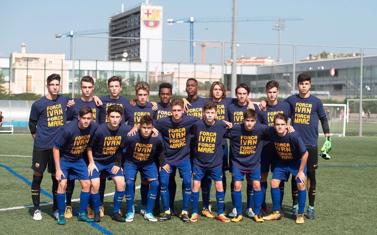 El Cadete A, con camisetas de apoyo a Marc Doménech e Iván Julián