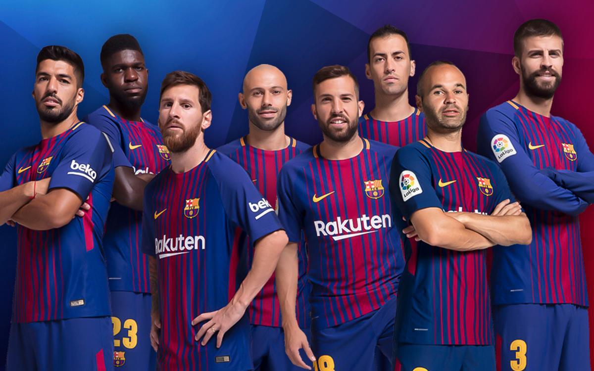 Alba, Mascherano, Piqué, Umtiti, Sergio Busquets, Iniesta, Messi et Suarez, finalistes du FC Barcelone pour le FIFA FIFPro World XI