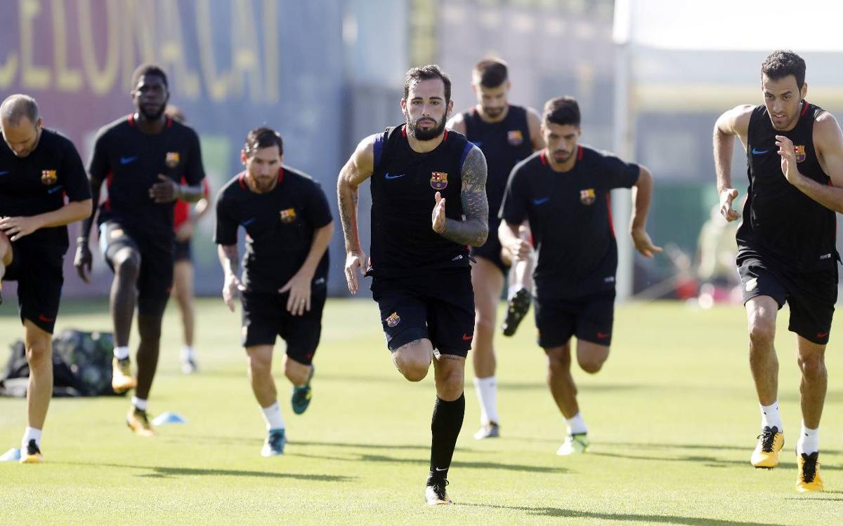 Sessió preparatòria amb els no convocats per al Nàstic-Barça