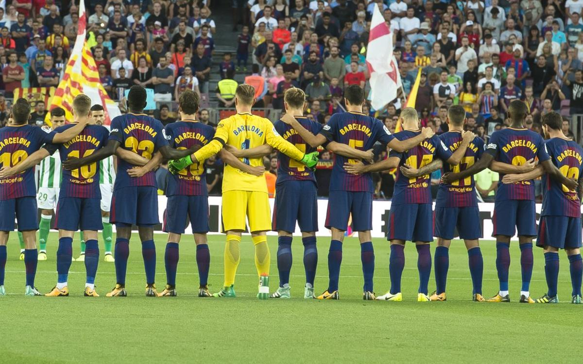 Camp Nou pays tribute to the victims of the attacks in Barcelona and Cambrils