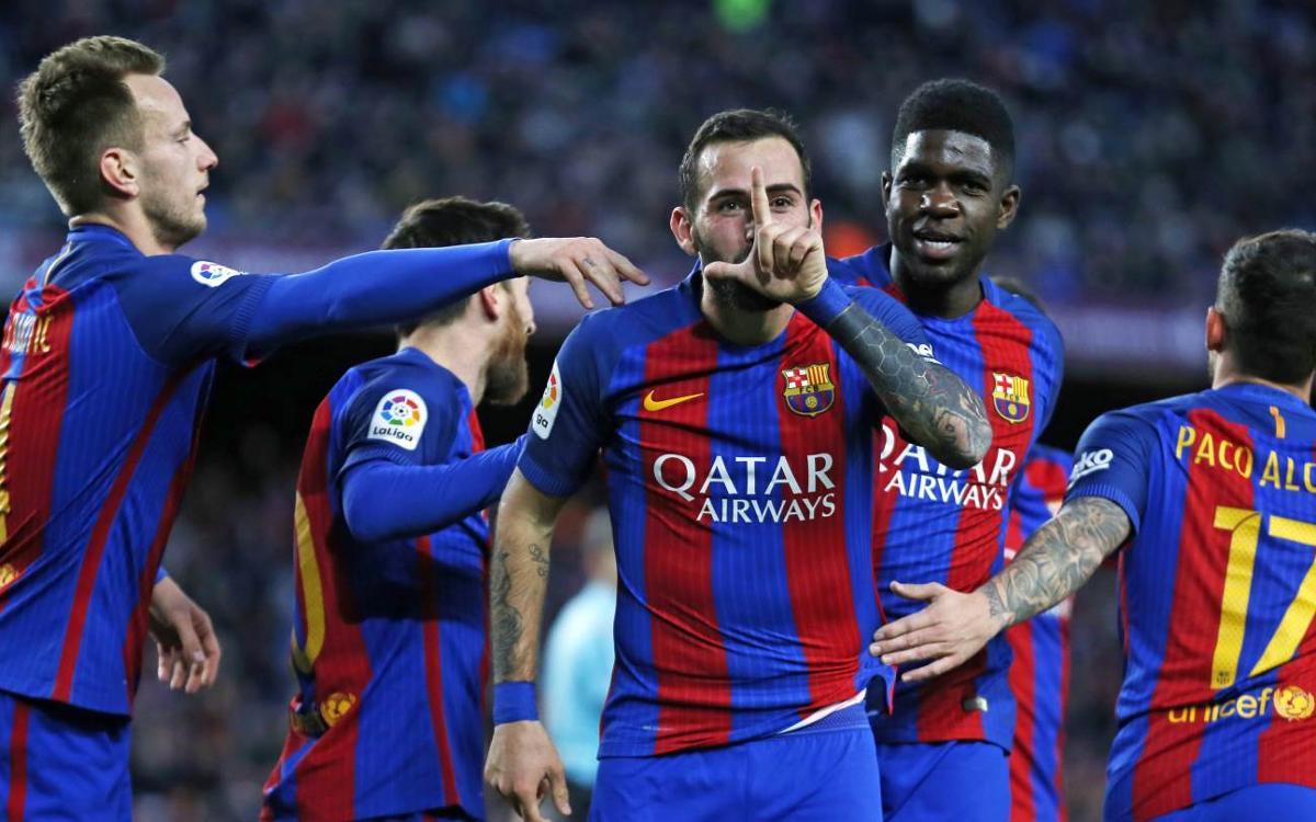 Gol d'Aleix Vidal, FC Barcelona - Las Palmas (Lliga)