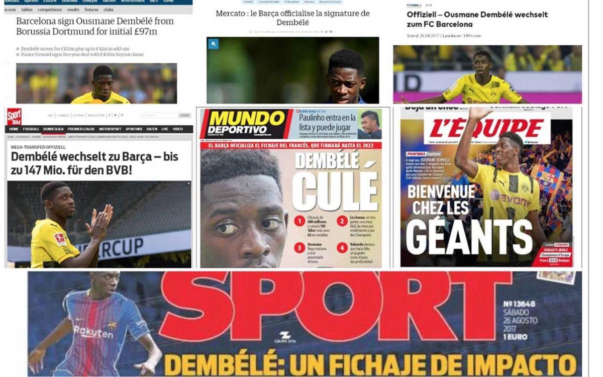 La premsa mundial es fa ressò del fitxatge de Dembélé