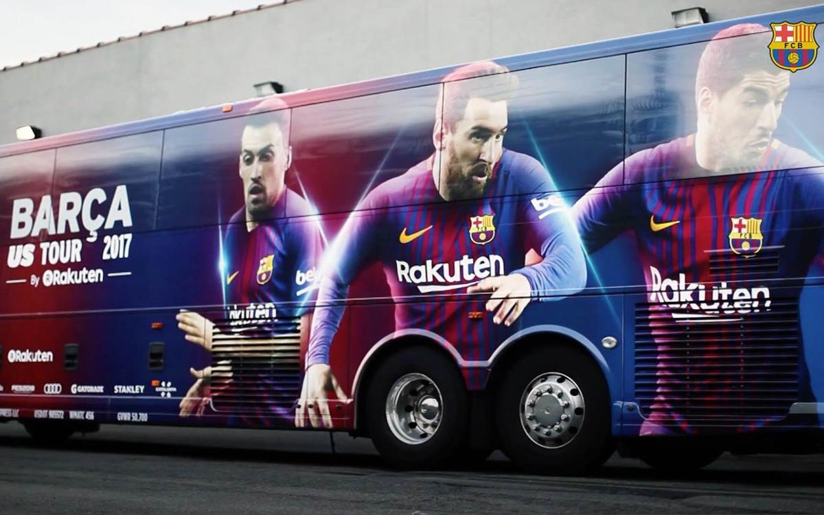 The FC Barcelona bus for the US tour ready