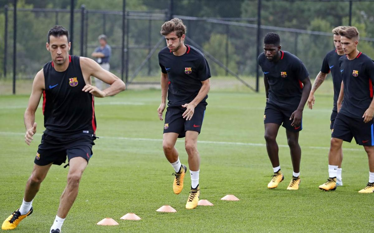Premier entraînement du FC Barcelone au Red Bull Training Facility