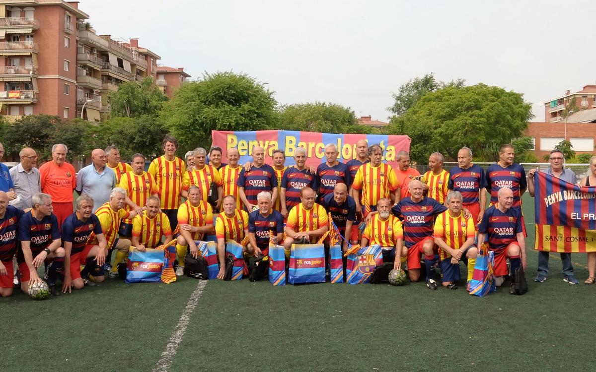 L'equip +55 de l'Agrupació Barça Jugadors celebra un triangular solidari a El Prat