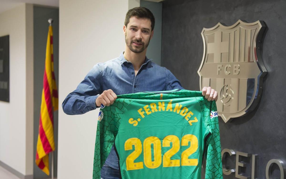 Sergi Fernández estará cuatro temporadas más bajo los palos del Palau Blaugrana
