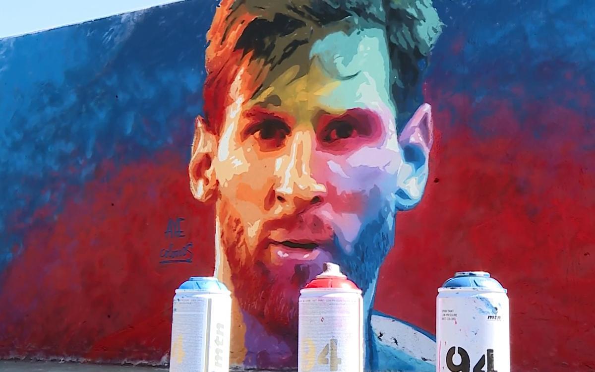 レオ・メッシの顔のグラフィティがバルセロナに