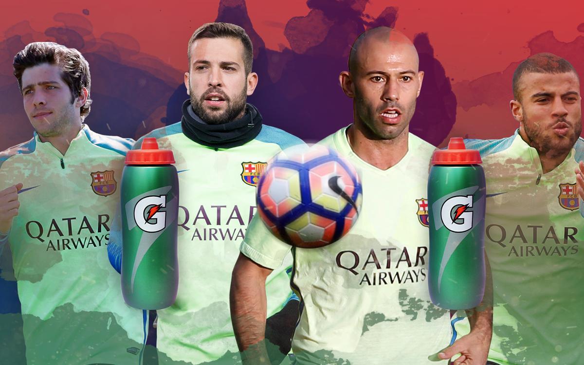 New bottle-goal challenge, with Sergi Roberto, Jordi Alba, Mascherano and Rafinha