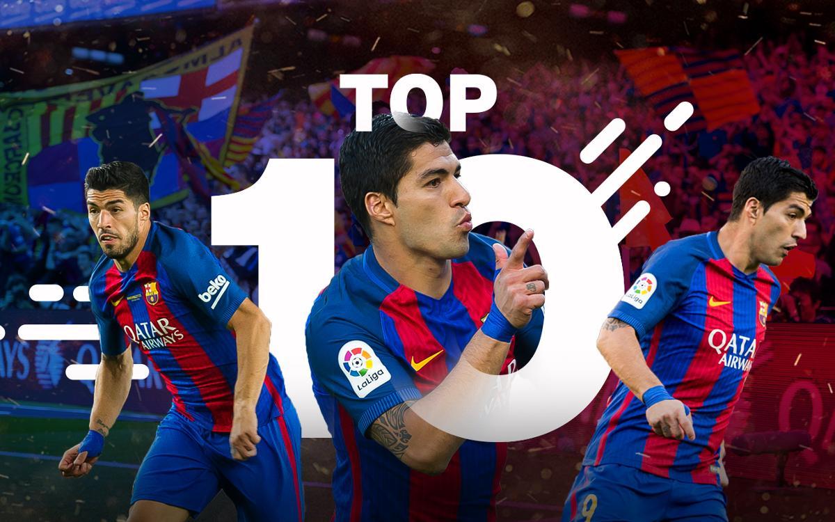 Suárez's best 10 goals in the 2016/17 season