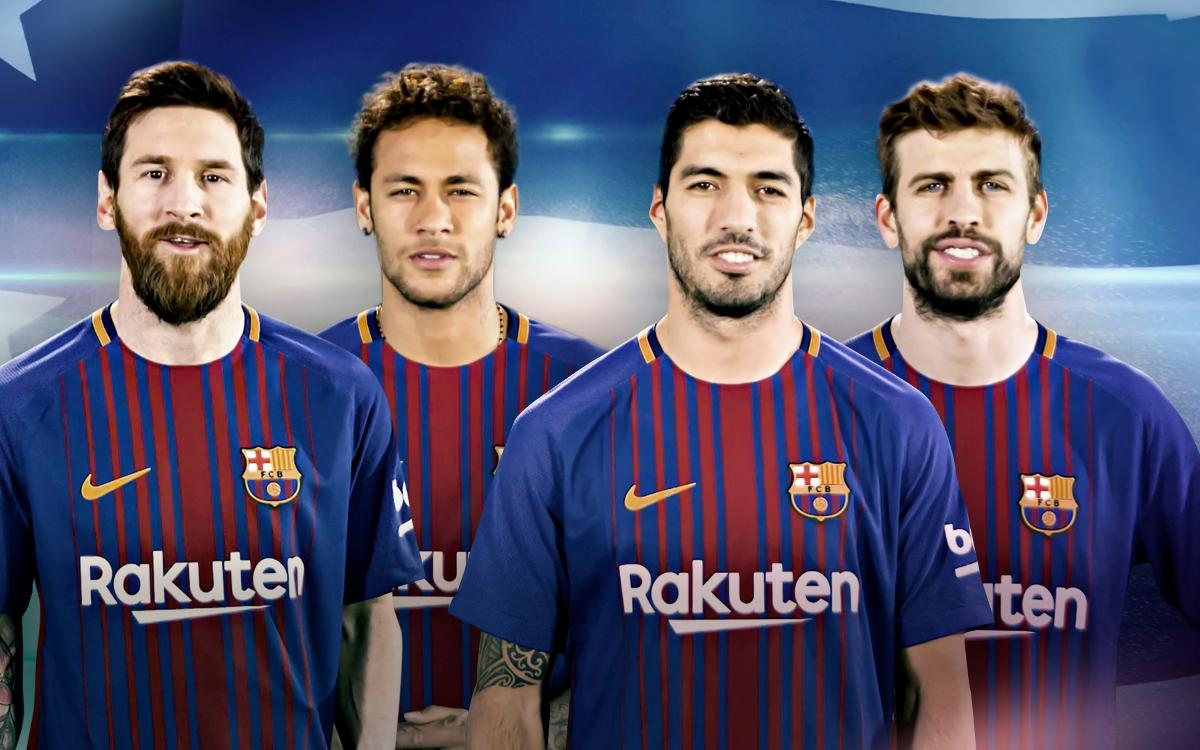 Los jugadores del FC Barcelona felicitan a los Golden State Warriors