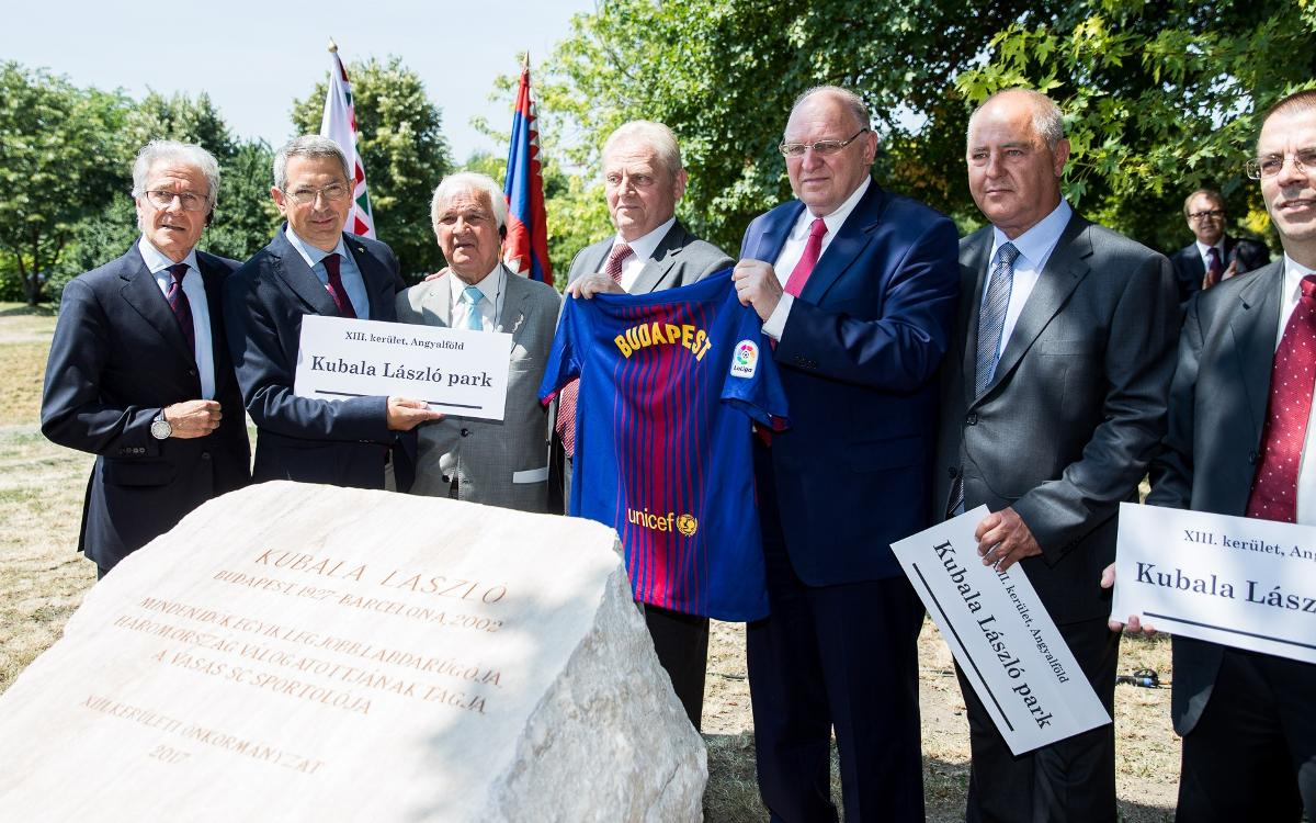 FC Barcelona present placing of the first stone at Ladislao Kubala park in Budapest