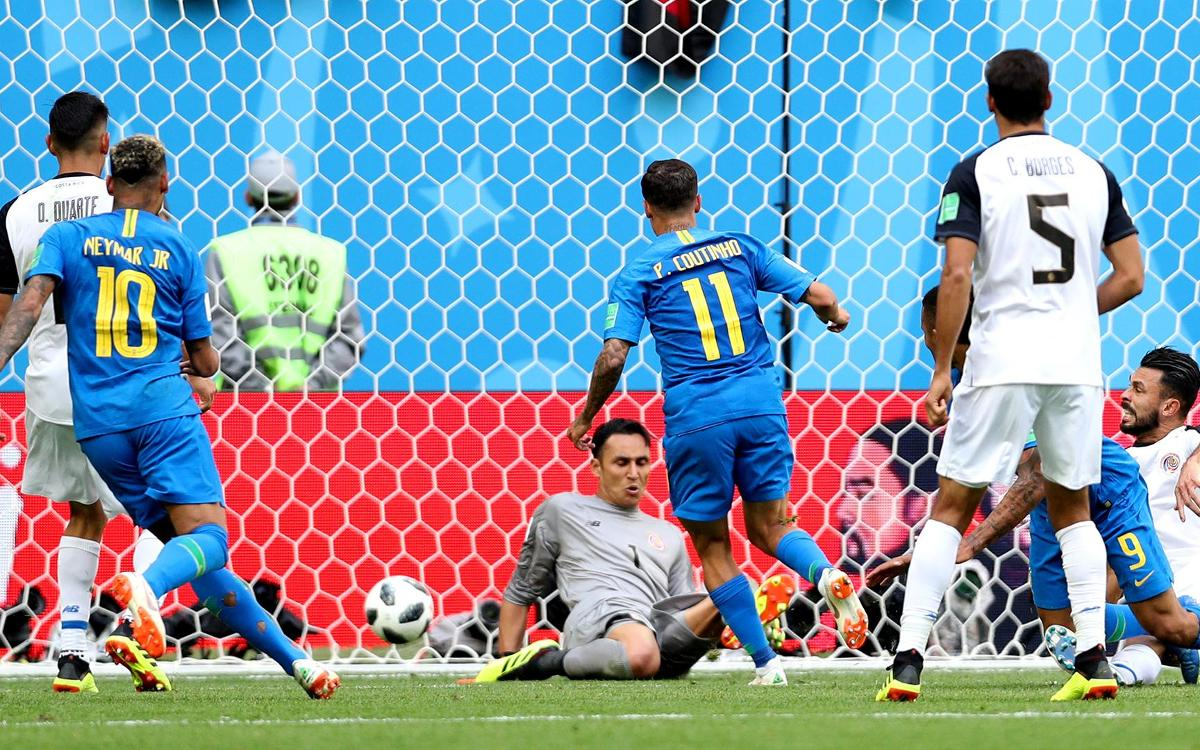 Late Coutinho goal rescues Brazil against Costa Rica