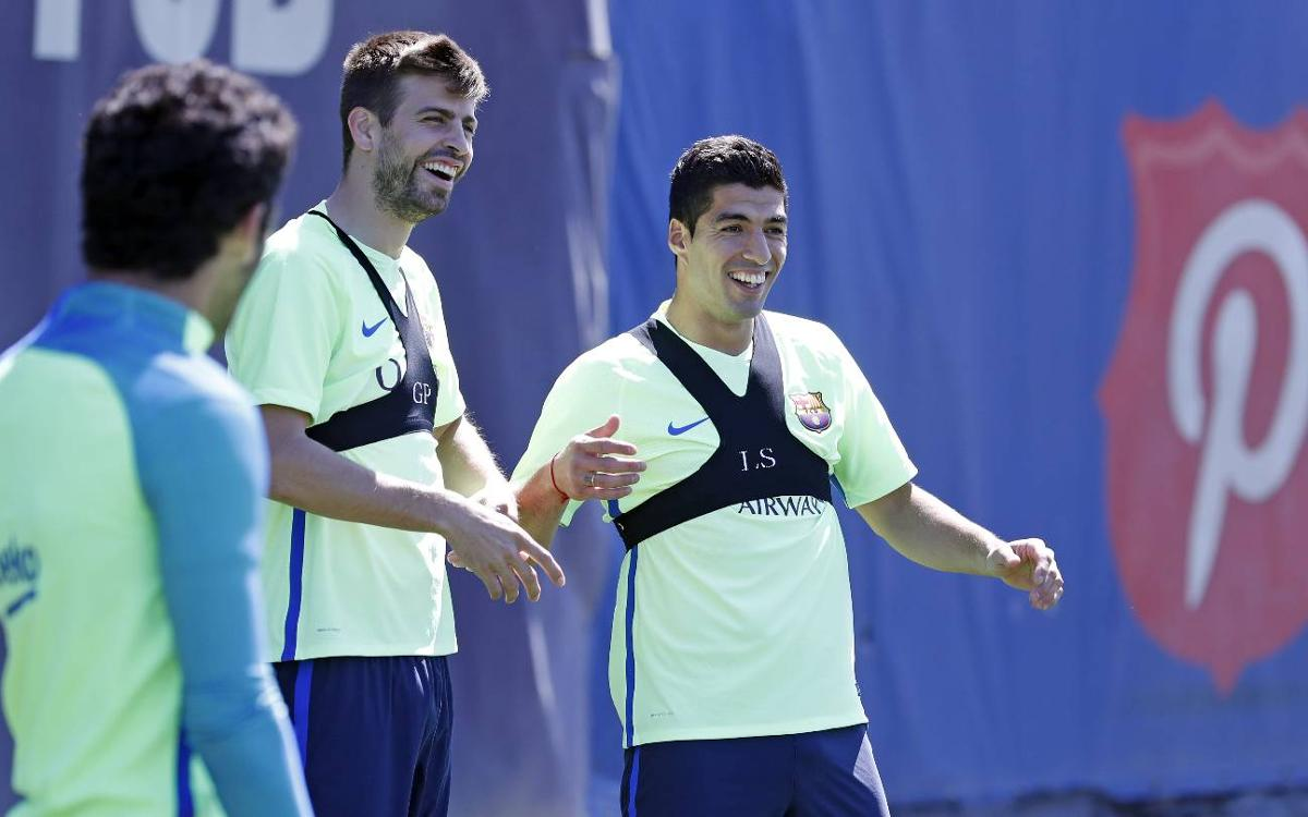 All smiles at training the morning after conquering the Bernabéu