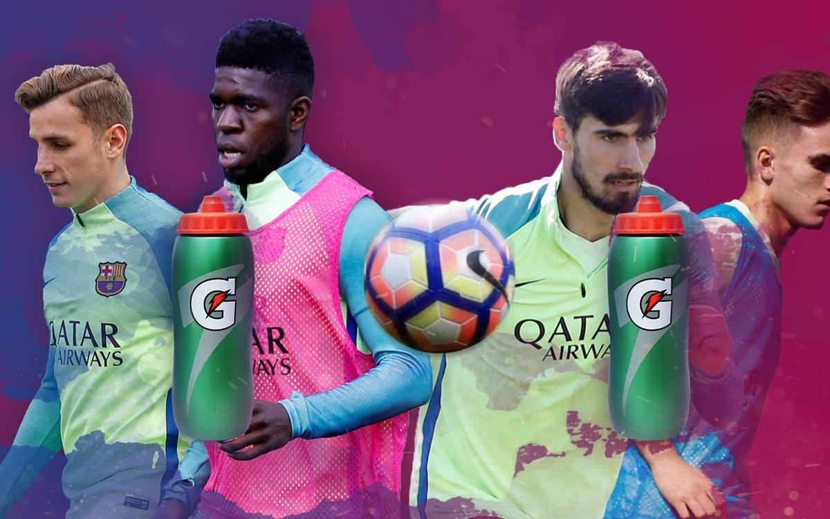 FC Barcelona players take on the bottle challenge