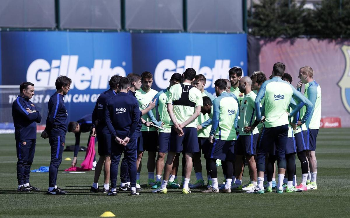 Training schedule for a Champions League week