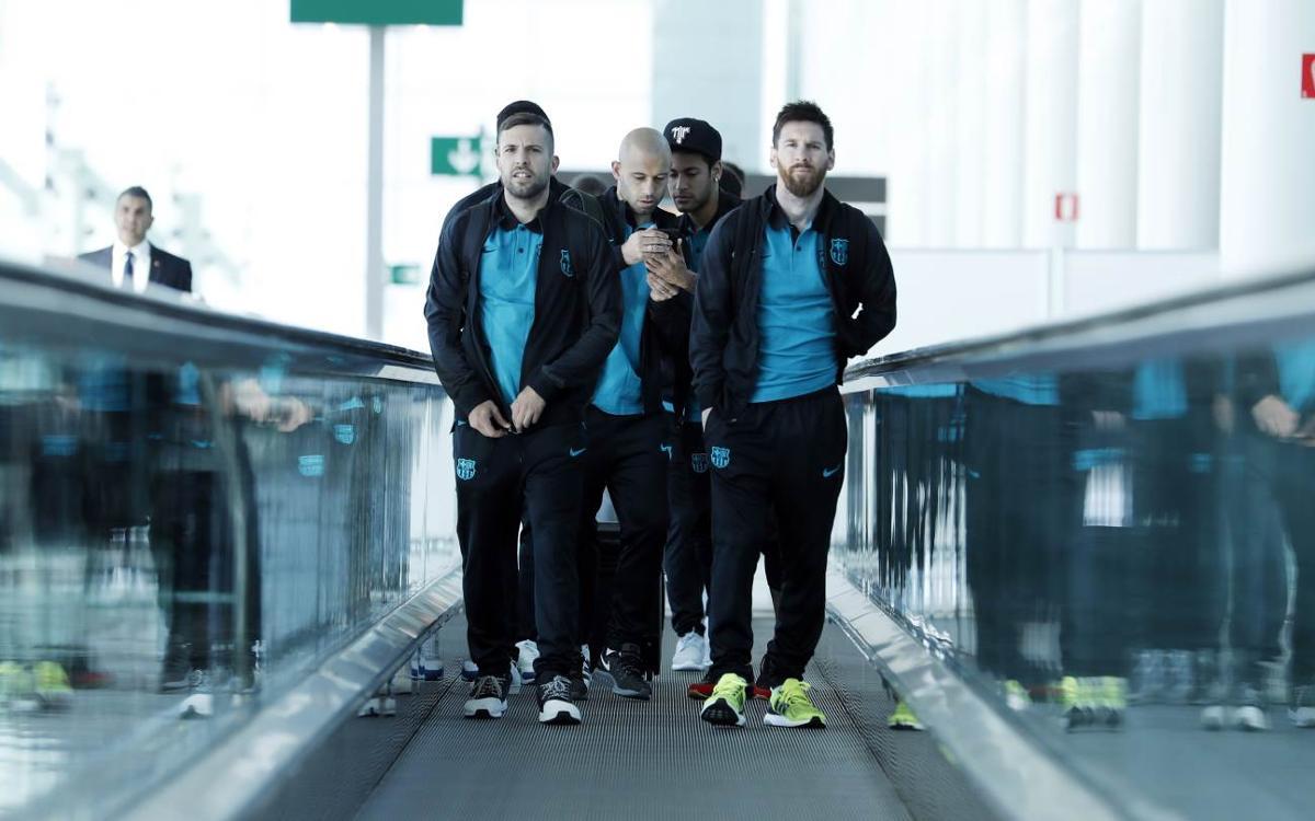 FC Barcelona arrive in Turin