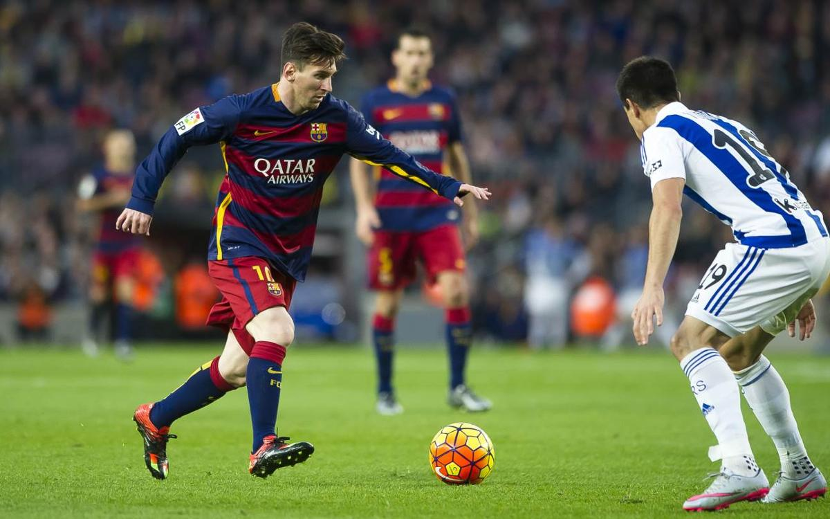 Leo Messi's league goals against Real Sociedad at Camp Nou