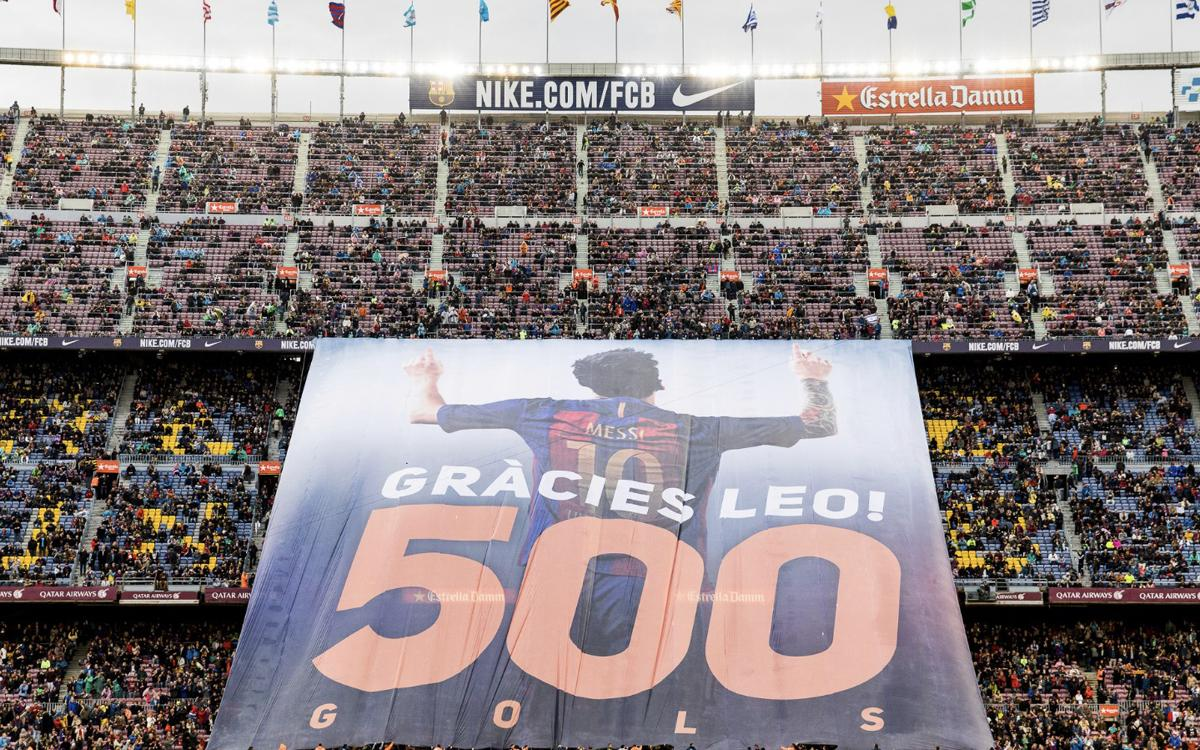 Fans' tribute at Camp Nou to Messi and his 500 goals