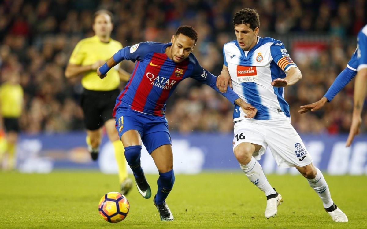 La magia de Neymar Jr en los derbis ante el Espanyol