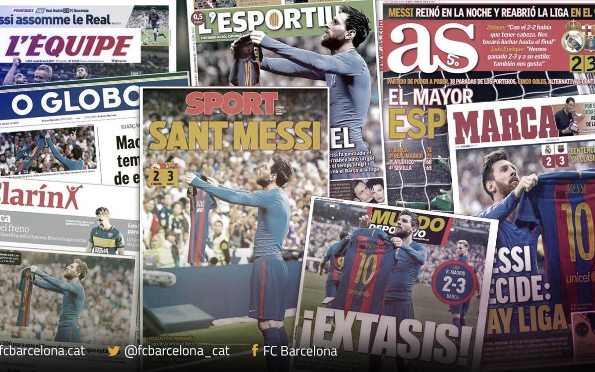 La presse mondiale adule Leo Messi et le FC Barcelone après le Clasico remporté à Bernabeu