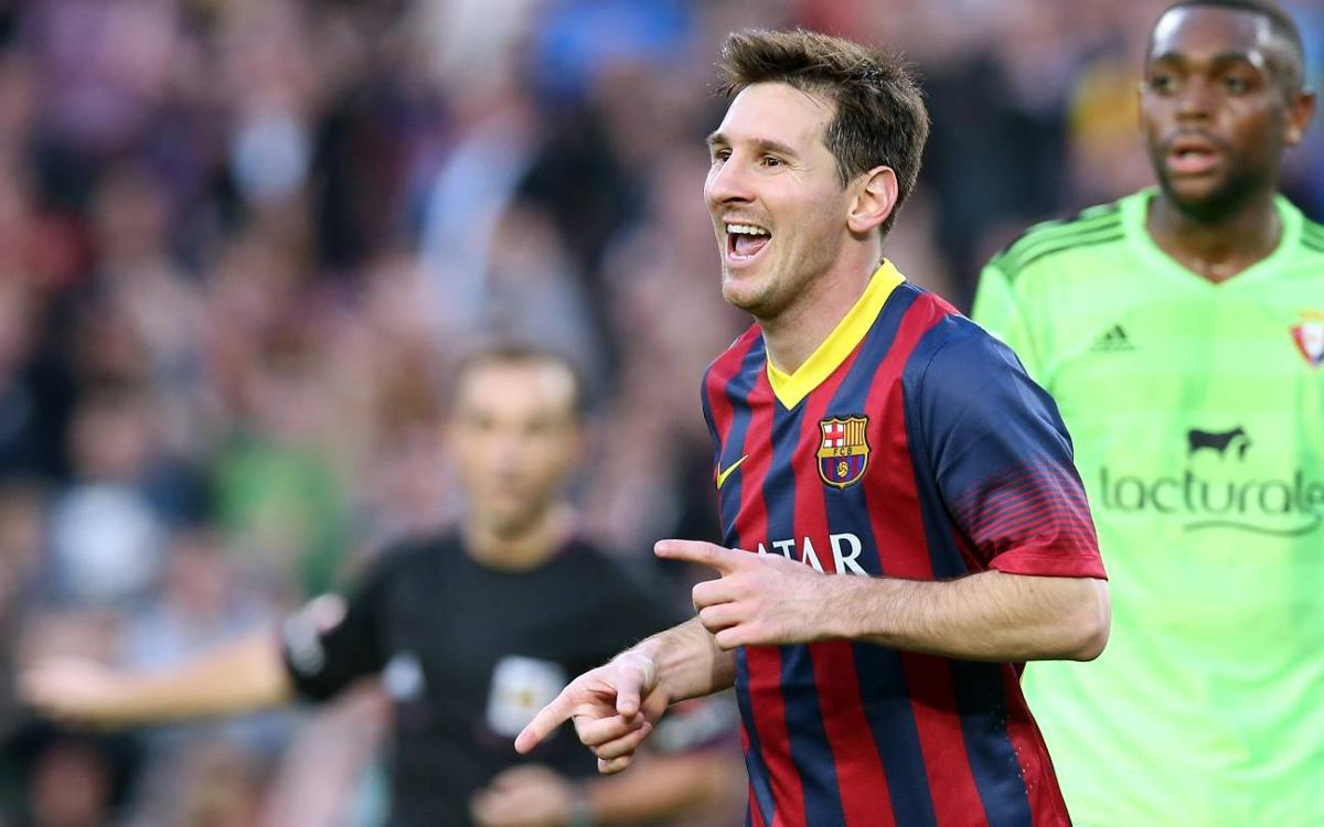 Messi's goals against Osasuna in the league at Camp Nou
