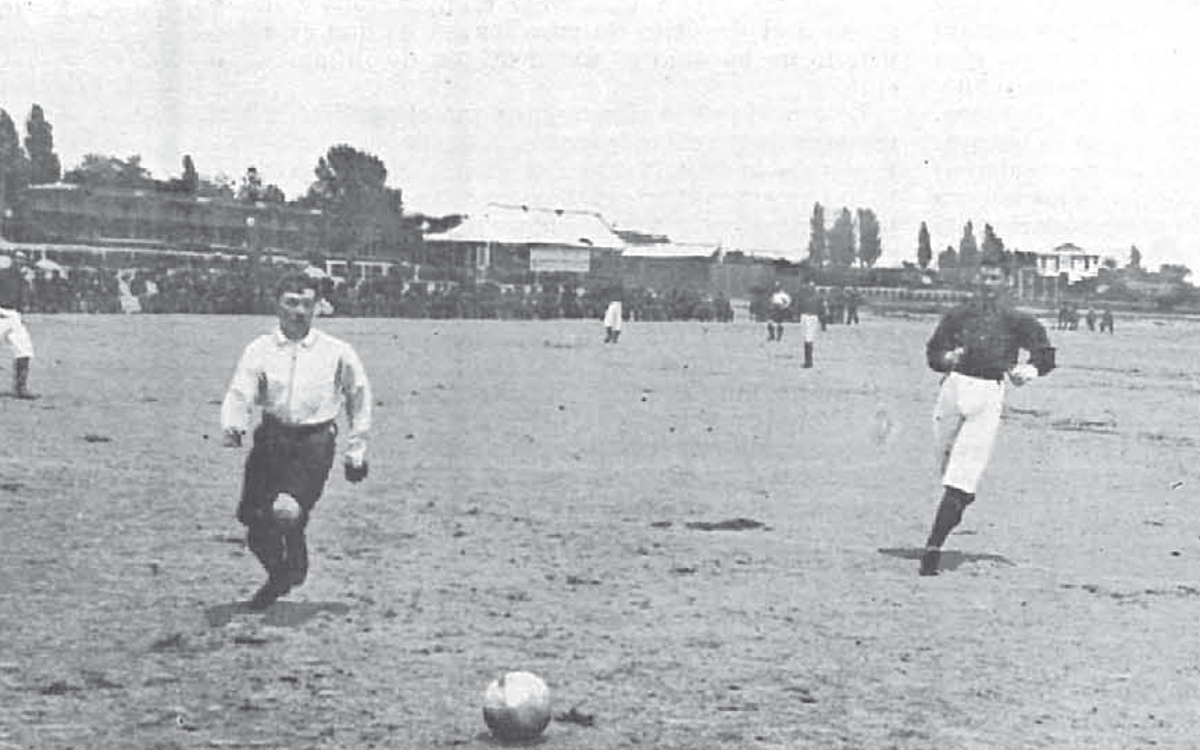 Action from the 1902 Copa Coronación in Madrid, where the first Clásico was played