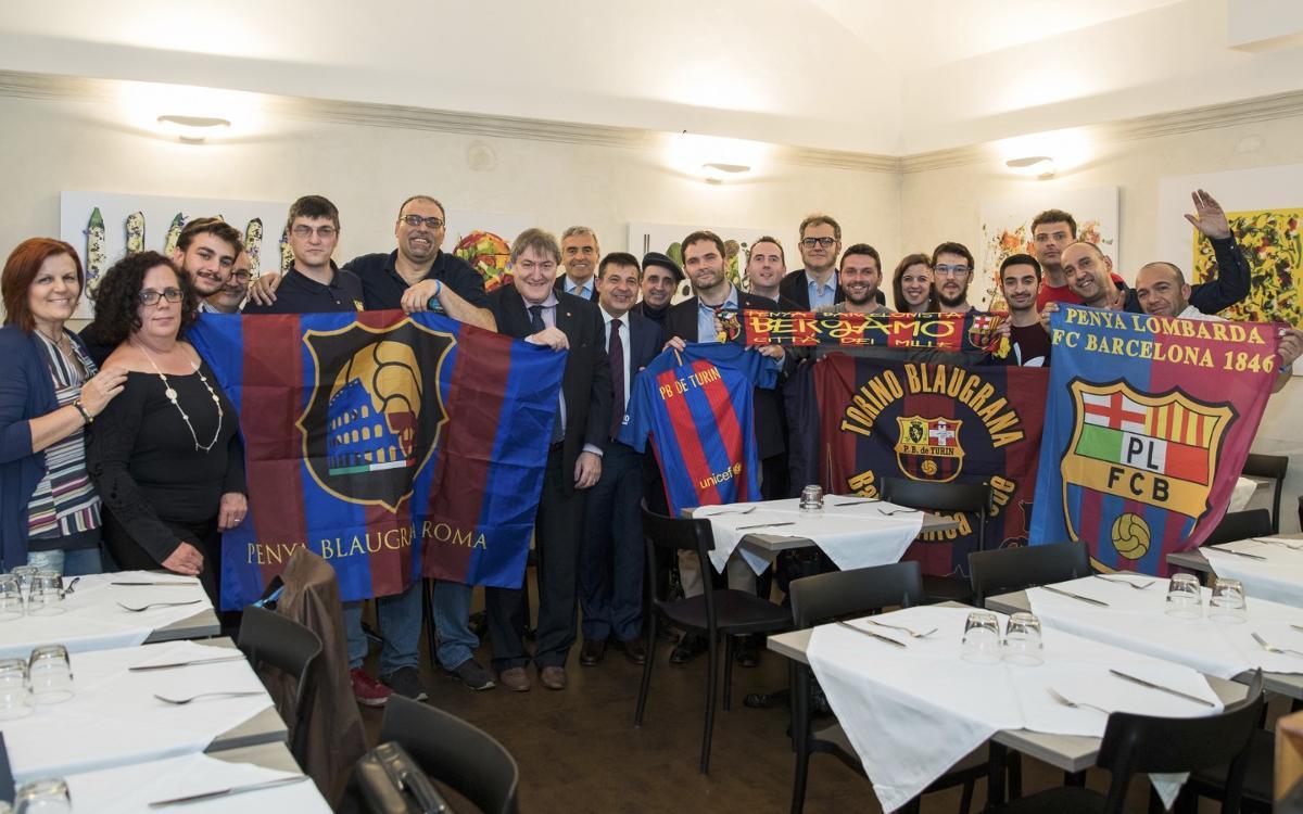 Cena de Peñas Barcelonistas en Italia antes del duelo contra la Juventus
