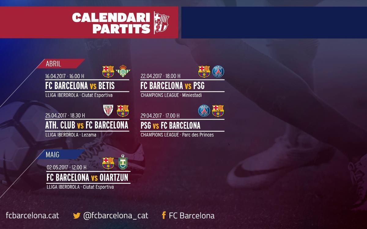 Els horaris dels propers partits del Barça Femení, confirmats