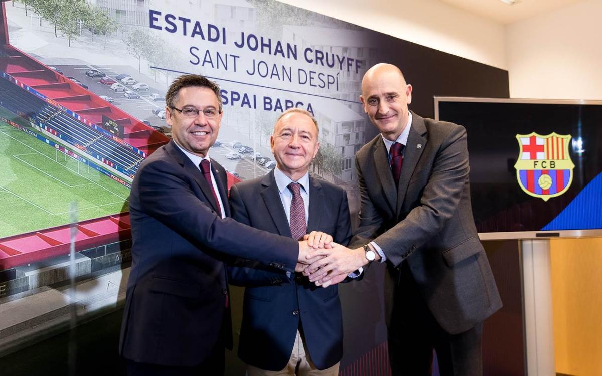 FC Barcelona present the construction of the Johan Cruyff Stadium with Sant Joan Despí council